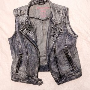 Studded Blue Jean Jacket Vest